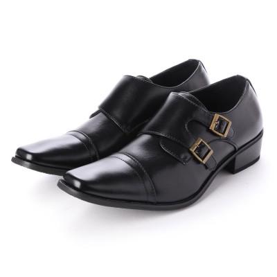 ジーノ Zeeno ビジネスシューズ 靴 メンズ 紳士靴 フォーマル ストレートチップ ベルト ダブルモンクストラップ シークレットシューズ ロングノーズ (ブラック)