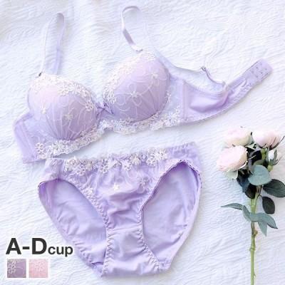サンエイ SANEI ナチュラル 綿混 シンプル小花刺繍 ブラジャー ショーツ セット ABCD