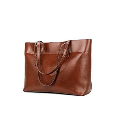 Kattee Vintage Genuine Leather Tote Shoulder Bag With Adjustable Handles (B