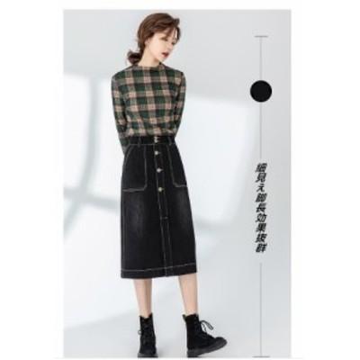 高品質 リングスカート OL通勤 厚手 Aライン スリット ブラック
