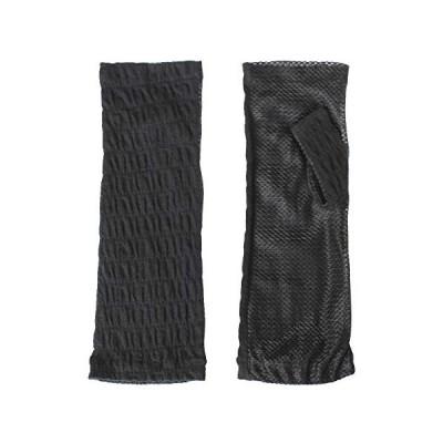 清涼UV楊柳手袋指なしタイプ(手のひらメッシュ) ブラック F