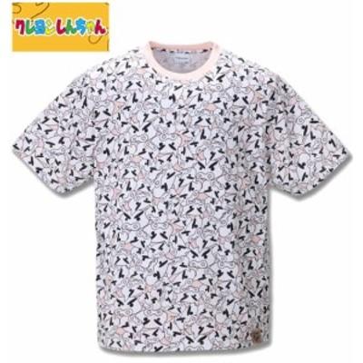 大きいサイズ クレヨンしんちゃん 総柄プリント半袖Tシャツ ピンク 3L 4L 5L 6L 8L/1278-0517-1-35