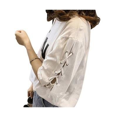 BeiBang(バイバン)レディース 半袖 Tシャツ ゆったり 袖デザイン 夏服 トップス 大きいサイズ 半袖Tシャツ(28白)