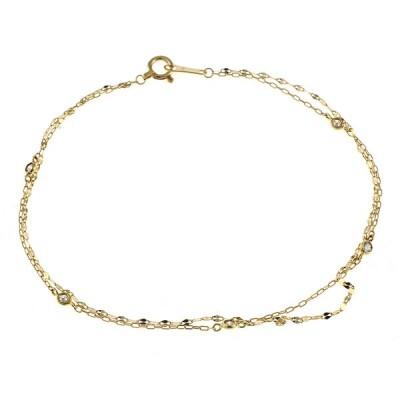 K18 ブレスレット ダイヤモンド 0.10ct 2連チェーン 18金 K18ゴールド ゴールド【SH】 中古