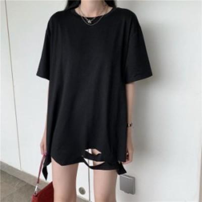 【2020春夏】【2カラー F】ダメージデザインでこなれ感満点のビッグTシャツ♪ Tシャツ tシャツ ロンT ロングTシャツ 半袖 Uネック シン