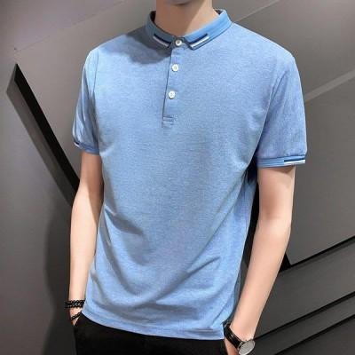 トップス メンズ ポロシャツ 半袖 折り襟 ゆったり 無地 シンプル 薄手 合わせやすい カジュアル 夏服 コットン 3色展開 柔らかい
