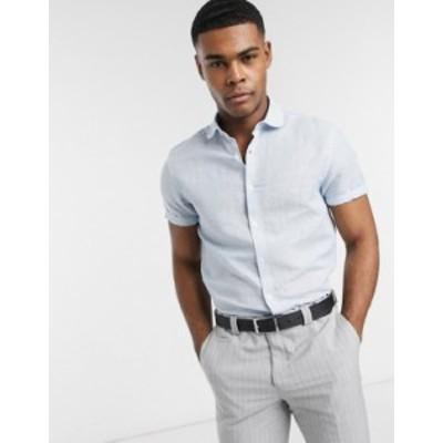 エイソス メンズ シャツ トップス ASOS DESIGN regular fit linen shirt with penny collar in blue with short sleeve Blue