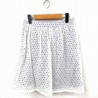【中古】プラステ PLST スカート カットワーク フレア ミニ コットン 綿 2 ホワイト 白 /FT40 レディース