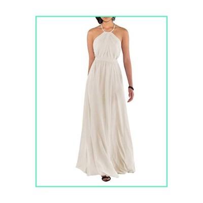Nicefashion Women's Elegant Spaghetti Straps Pleated Chiffon Floor Length Wedding Party Dresses Ivory US12並行輸入品
