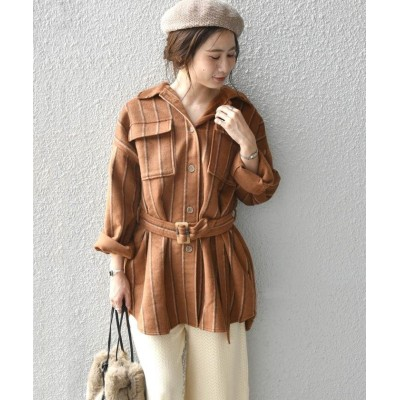 (Khaju/カージュ)Khaju:ストライプシャツジャケット/レディース キャメル