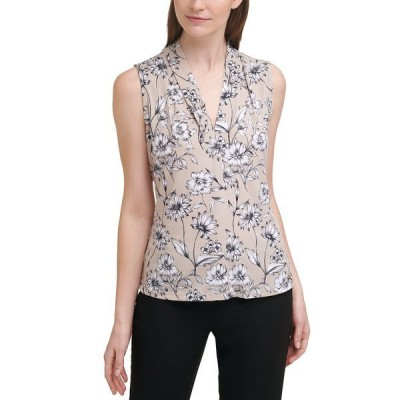 カルバンクライン カットソー トップス レディース Floral-Print V-Neck Top Khaki Multi