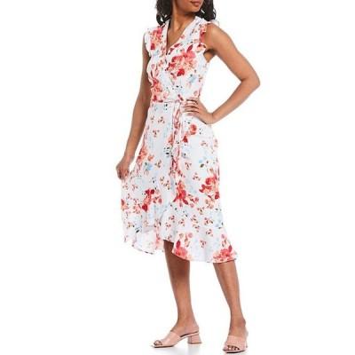 カール ラガーフェルド レディース ワンピース トップス Linen Blend V-Neck Sleeveless Floral Wrap Midi Dress