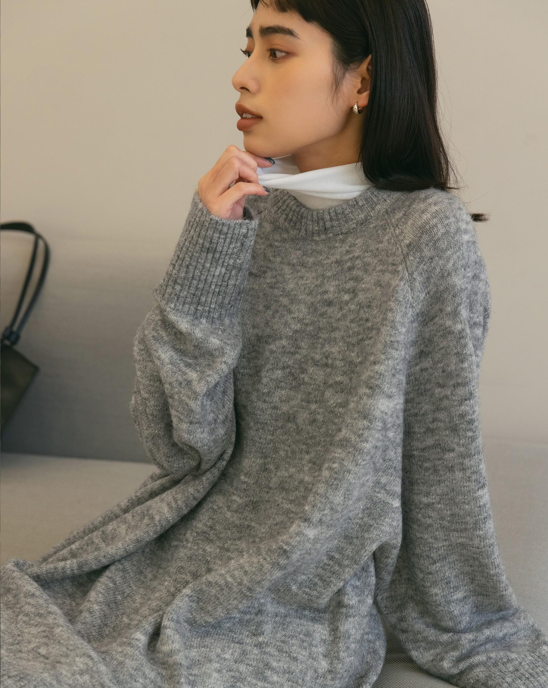 混色感長版鬆軟毛衣-Meierq