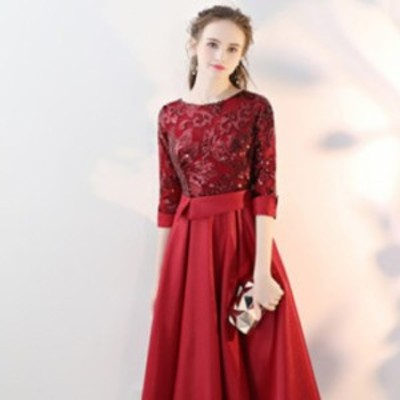 刺繍 サテン スパンコール 七分袖 ドレス ワインレッド