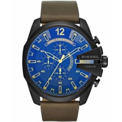 ディーゼル メンズ 腕時計 アクセサリー Men's Mega Chief Chronograph Brown Leather Watch 51mm Brown