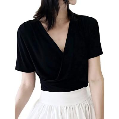 [アズルテ] カシュクール レディースファッション レディース カジュアル 通勤 通学 夏服 vネックシャツ カジュアルシャツ 韓国ファッション シン
