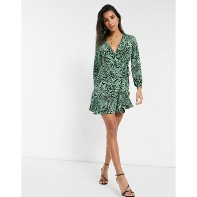 ホイッスルズ レディース ワンピース トップス Whistles zebra print wrap dress in green Green