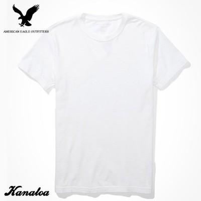 アメリカンイーグル Tシャツ 半袖 メンズ スリムフィット 無地 クルーネック ホワイト 大きいサイズ