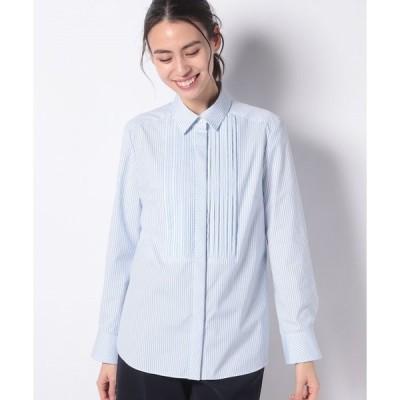 【ラ ジョコンダ】ストライプコットンブロードピンタックシャツ