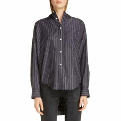 バレンシアガ BALENCIAGA レディース ブラウス・シャツ トップス Tie Back Pinstripe Shirt Black/White