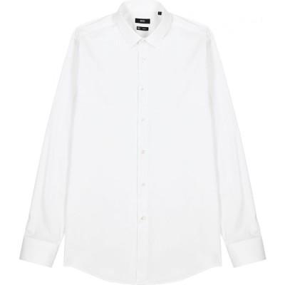 ヒューゴ ボス BOSS メンズ シャツ トップス isko white cotton-blend shirt White