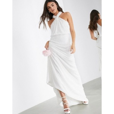 エイソス レディース ワンピース トップス ASOS EDITION Carmelo sequin halter wedding dress