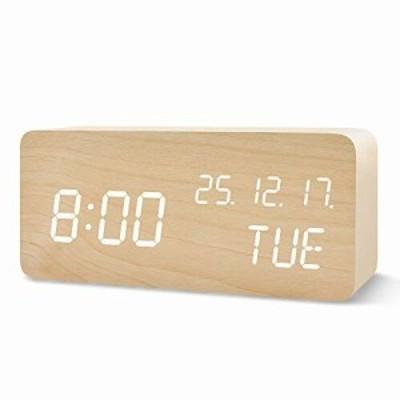 QANSI 目覚まし時計 置き時計 LEDデジタル時計 木目調 音感センサー 明るさ調節 USB/乾電池給電 日付 日月年の順番 温度表示 アラーム機