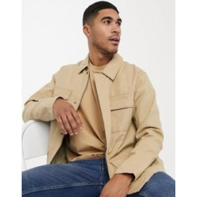 トップマン メンズ ジャケット・ブルゾン アウター Topman 4 pocket ripstop jacket in stone Stone