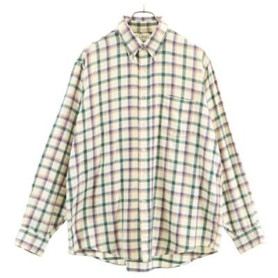 エルエルビーン 80s USA製 チェック 長袖 ボタンダウンシャツ L 緑系 L.L.Bean メンズ 古着 200711