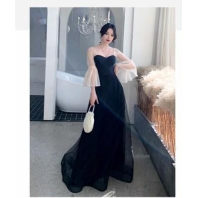 ロングドレス 演奏会 トレーンドレス パーティードレス ウエディングドレス 大きいサイズ Aライン フォーマルドレス マキシ丈ワンピース