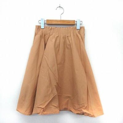 【中古】ローズバッド ROSE BUD スカート フレア シンプル ウエストゴム 綿 コットン F ベージュ /ST40 レディース 【ベクトル 古着】