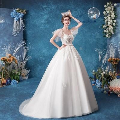 ウェディングドレス 袖あり 白 安い 結婚式 花嫁 ウエディング 大きいサイズ エレガント 上品 二次会 プリンセスライン パーティードレス レースアップ