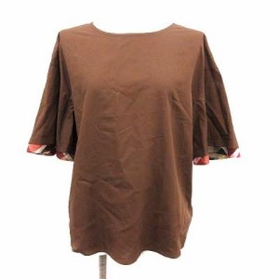【中古】未使用品 ブルーレーベルクレストブリッジ ブラウス シャツ 半袖 クルーネック フェイクレイヤード 38 M 茶