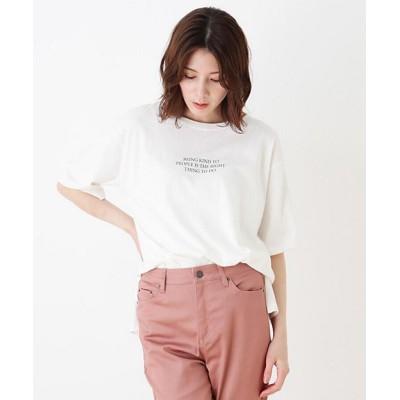 <SHOO LA RUE(Women)/シューラルー> ドロップショルダーグラフィックTシャツ シロ403【三越伊勢丹/公式】