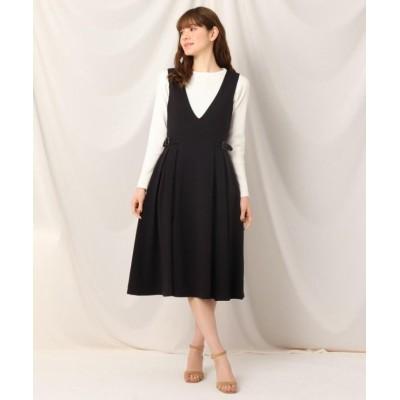 【クチュールブローチ】 タックサイドベルトジャンスカ レディース ブラック 40(L) Couture Brooch