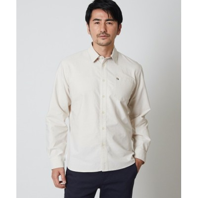 シャツ ブラウス オックス長袖チェック部分使いシャツ