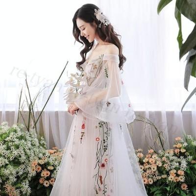2020新作新春 ロングドレス 花柄演奏会 パーティードレス フォーマル お呼ばれ シースルー カラードレス 結婚式 成人式ウェディングドレス 大きいサイズマキシ丈