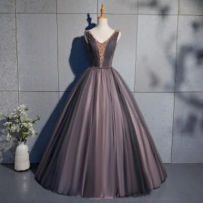ステージ ロングドレス ノースリーブ 半袖 ドレス ロング ビジュー カラードレス 演奏会 ロングドレス ウエディングドレス