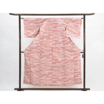 【中古】リサイクル紬 / 正絹ピンク地袷先染紬着物 (古着 中古 紬 リサイクル品)