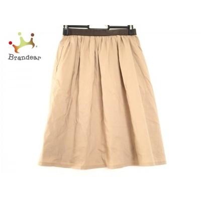 ニジュウサンク スカート サイズ38 M レディース ライトブラウン×ダークブラウン ウエストゴム       スペシャル特価 20200621