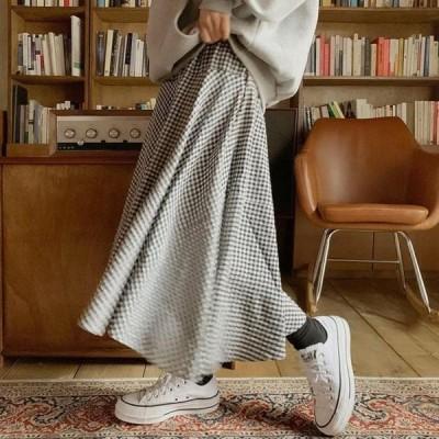 ENVYLOOK レディース スカート Denia check cancan banding long skirt
