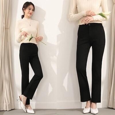 [韓国ファッション]速攻美脚!プルロングスラックスパンツフレアパンツストレートパンツ