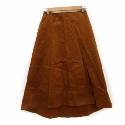 【中古】B&Y ユナイテッドアローズ スカート フレア フィッシュテール ロング丈 薄手 M ブラウン 茶色 レディース