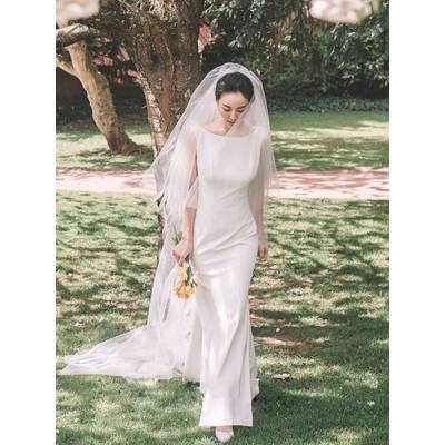 ウエディングドレス 結婚式ドレス 安い 可愛い おしゃれ パーティー エレガント 白 ホワイト シンプル タイト スリム