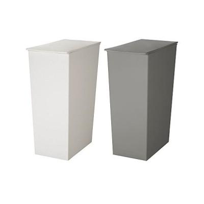 日本製ダストボックス kcud クード シンプル 2個セット ゴミ箱 ごみ箱 (スリム ホワイト×スリム グレー)