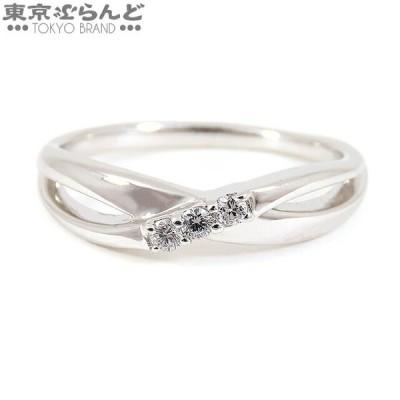 ヨンドシー 4°C 3P ダイヤモンド リング 指輪 K18WG ホワイトゴールド ウェーブ 仕上済  101530951