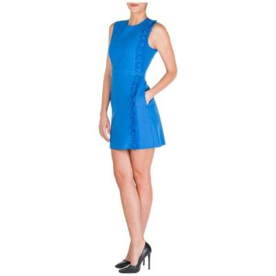 ドレス エムエスジイエム  MSGM WOMEN'S SHORT MINI DRESS SLEEVELESS NEW ORIGINAL BLU C0A