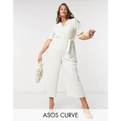 エイソス ASOS Curve レディース オールインワン ジャンプスーツ ASOS DESIGN curve jersey tie waist open collar jumpsuit in texture in stone ベージュ