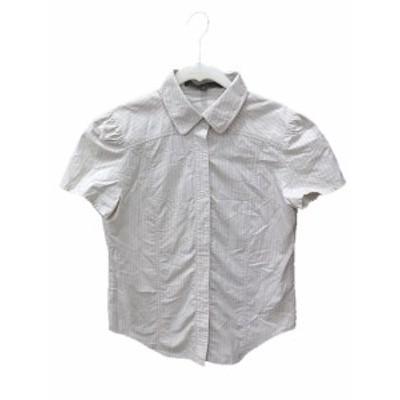 【中古】マークジェイコブス MARC JACOBS シャツ 半袖 ストライプ 4 ベージュ /CT レディース