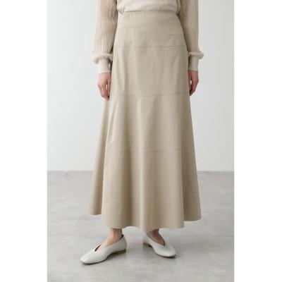 【ヒューマンウーマン】 ◆≪arrive 5e≫綿麻スラブサテンスカート レディース ベージュ M HUMAN WOMAN